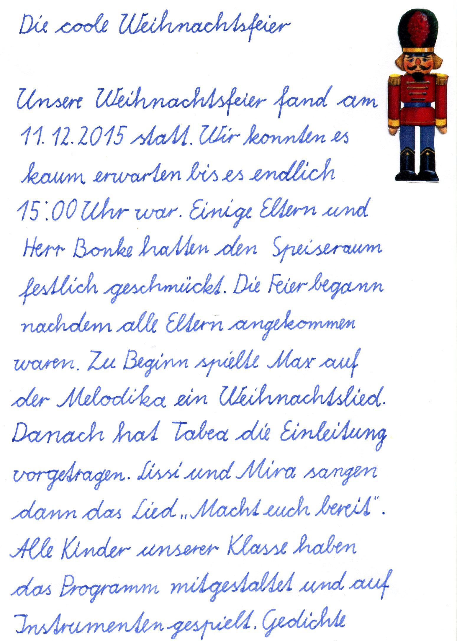 Grundschule Weihnachtsfeier.Heinz Sielmann Grundschule Haßleben Weihnachtsfeier Der Klasse 3